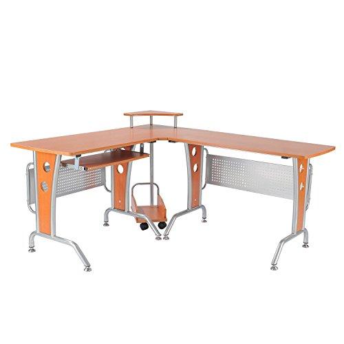 HOMCOM Eck-Computertisch Eckschreibtisch Bürotisch PC Tisch Kombitisch Winkeltisch Schreibtisch