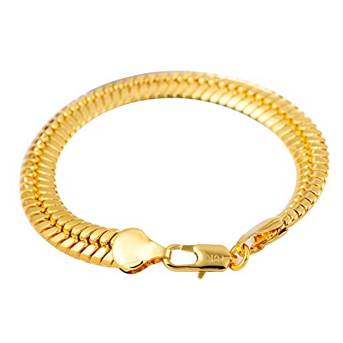 Pendant Necklace Charming Attractive Bracelets for Men/Women & 9mm Men Hip Hop Flat Snake Bracelet Bangle Wristband Statement Charm Jewelry, Best Gift for Her/Him,Colour:Golden ( Color : Golden )