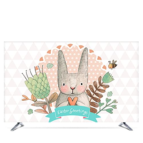 YGLONG Funda TV Exterior 19'- 80' Cubierta de Capucha Decorativa de 22 Pulgadas de 75 Pulgadas para TV de Pantalla PC Hare Conejo Hojas Flor de corazón Impermeable Funda para Televisor De Exterior