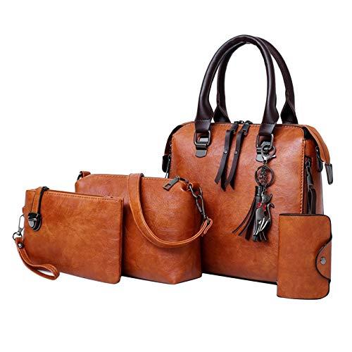 oshhni 4pcs / Set Women's Bag Handbag Cross Body Tote Cards Makeup - Brown