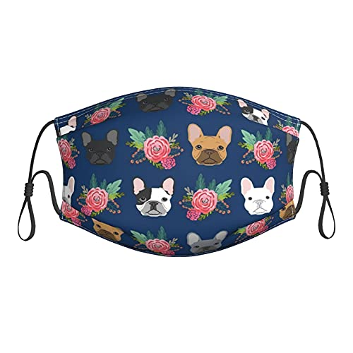 SWEET TANG Unisex Reusable Face Mask Scarf Mouth Cloth Shield French Bulldog Flowers, Durable and Washable Polyester Masks Face Cover with Adjustable Ear Loops for Protection