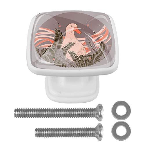 Tiradores de cajón blanco de 30 mm, 4 piezas de pomos de puerta de gabinete, diseño de ganso de dibujos animados para armario tocador con tornillos cuadrados