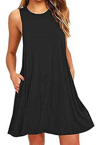 OMZIN Damen Shirt Mini Sommerkleid Tunika Tops mit Taschen Basic Tank Langes, XL, Tasche-schwarz