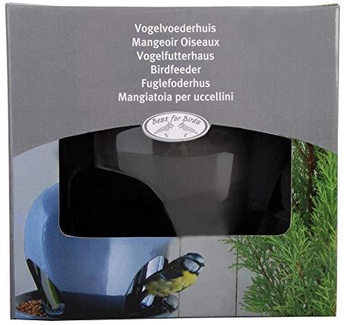 Esschert Design Vogelhaus, Vogelfutterhaus mit Kuppel aus Keramik in grau, zum Aufhängen, ca. 19 cm x 19 cm x 18 cm - 2