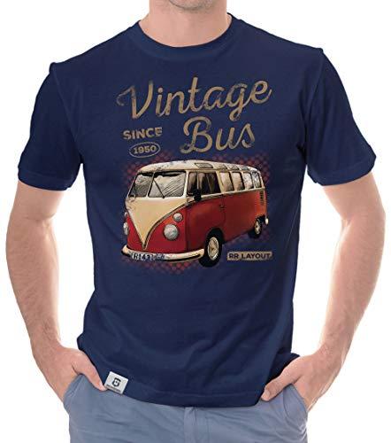 shirtdepartment - Herren T-Shirt - Vintage Bus dunkelblau-Hellbraun S