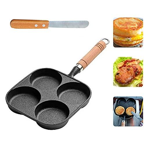Sartén para tortillas de 4 orificios para huevos de hamburguesa, máquina para hacer panqueques, sartenes para freír Wok creativo antiadherente, sin humo de aceite, parrilla para el desayuno, olla