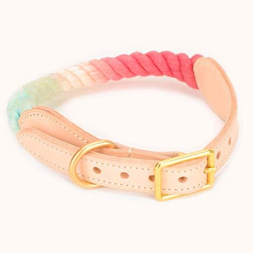 Pety Wo - Collar de cuerda para perros pequeños, medianos y grandes, cuerda de algodón trenzada, collar de cinturón de cuero auténtico duradero, anillo en D, ajustable, 4 tamaños