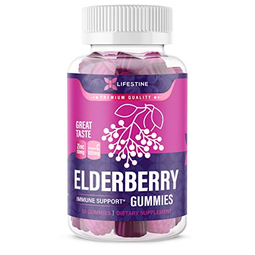 Lifestine Sambucus Elderberry Gummies with Zinc and Vitamin C for Adults and Kids | All-Natural and Vegan Immune Support* Gummies | 60 Count, 30 Servings