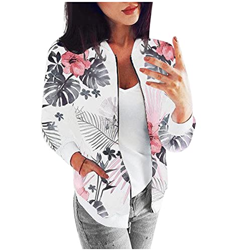 TIMEMEAN Women Bomber Jacket Long Sleeve Zip Up Floral Flight Coat with Pockets Gray Large