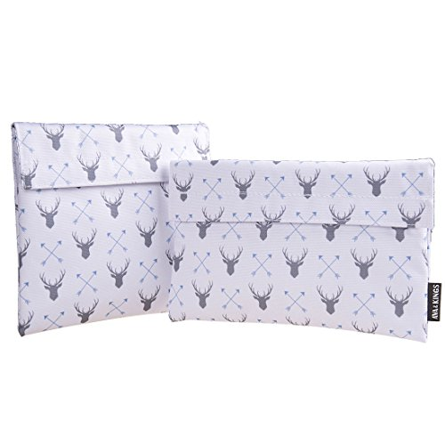 Ava Kings Reusable Eco Friendly Lunch Food Sandwich Fabric Snack Bags Insulated- Great for School Work Picnics Men Women - Set of 2 7x7 in 6x9 in - White Deer Arrow Design