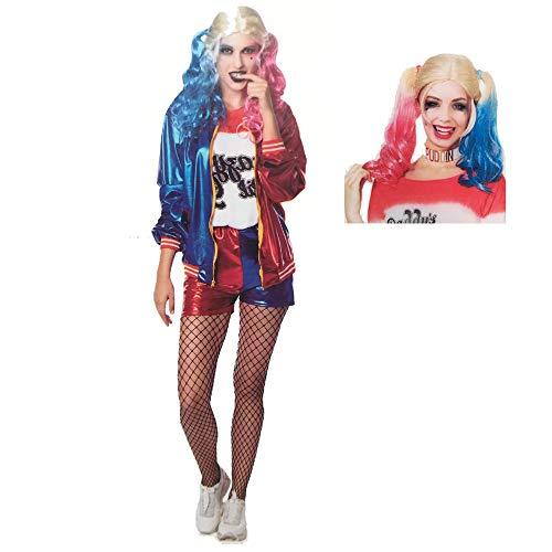 Disfraz PACK DISFRAZ Y PELUCA para Halloween de Mujer de Payasa Asesina Harley Quinn, Talla M. Talla Unica Adulto. Cosplay Suicide Squad Arlequín Halloween Escuadrón Suicida. Herley Quinn