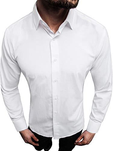 OZONEE Herren Hemd Freizeithemd Shirt Langarm Tailored Fit Flanellhemd Langarmhemd Langärmliges Slim Fit Freizeit Business Männer Jungen Trachtenhemd MECH/2122Z WEIß XL