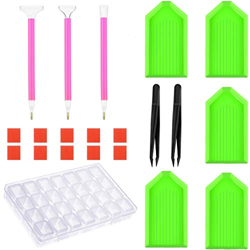 23 Pieces Diamond Painting Tools Kits, Diamond Painting Drill Pen, Diamond Painting Glue Clay, Plastic Plates, Tweezers and Embroidery Box for DIY Painting Art Craft Supplies