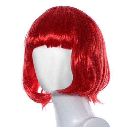 Coloré(TM) Perruque wig Mascarade petit rouleau Bang courte perruque de cheveux raides (Rouge)