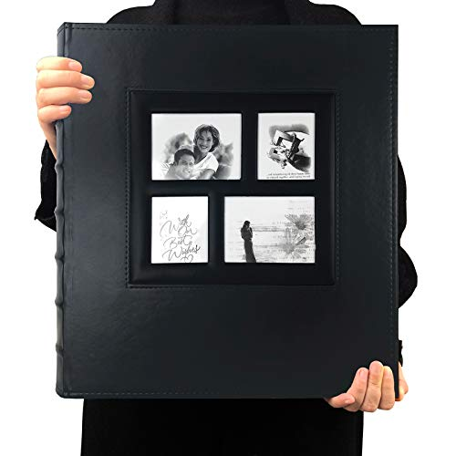 in budget affordable RECUTMS Photo Album 4×6 600 Photos Large Black Page Leather Sleeve Wedding Family Photos…