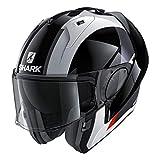 Shark Unisex-Adult Flip-Up Helmet (Black/White/Red, L - 59-60 cm - 23.2-23.6'')