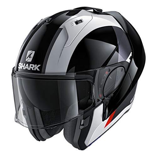 SHARK HE9781DWKRKS Unisex-Adult Flip-Up Helmet (Black/White/Red, KS - 63-64 cm - 24.8-25.2'')