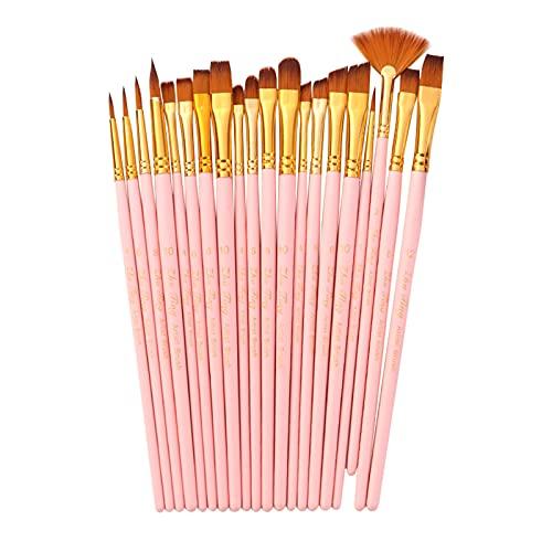 Queenser 20pcs Draw Paint Brushes Set Kit Artist Paintbrush Multiple Mediums Brushes com Nylon Hair para Artista Acrílico Aquarelle Aquarelle Pintura a Óleo de Guache para Pintores para Grandes Materi