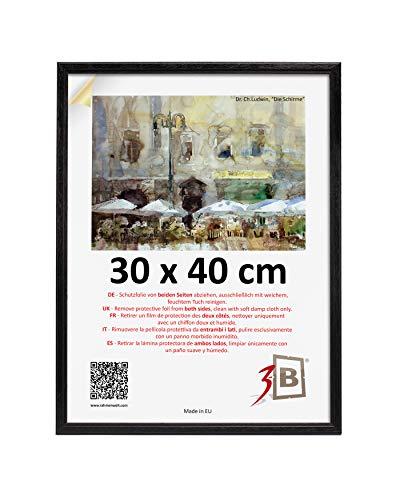 3-B Bilderrahmen JENA - schwarz - 30x40 cm - Holzrahmen, Fotorahmen, Portraitrahmen mit Plexiglas