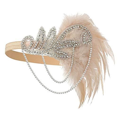 Dames flapper hoofdband, casue 1920 jaren accessoireset flapper kostuum accessoires kristal veer-hoofdband party hoofdtooi boho Indianen haarsieraad haarband