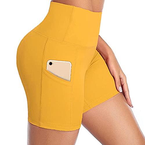 Leggings Sin Costuras Corte de Malla Mujer Pantalon,Pestilleos de Yoga de Bolsillo de Color sólido Pantalones Cortos de Aptitud Ajustados.-Amarillo_L