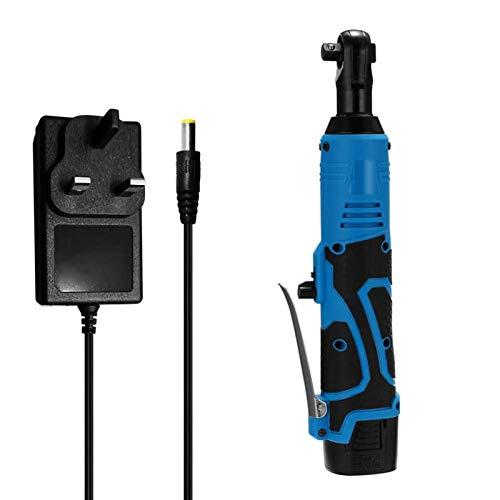 Herramienta de reparación de llave eléctrica Llaves de trinquete eléctrico Conjunto Llave eléctrica azul 18V 90 ° Ángulo con una batería y un cargador (Plug Type : EU)