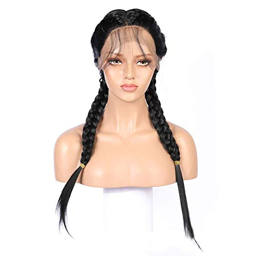 ZHANGYY Black Color Braids Handmade Collection Synthetic Lace Front Perruques tressées pour Femmes Noires 24\