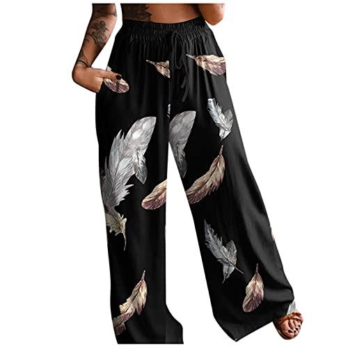 Pantalon Long Femme Décontracté Bohème Pantalons Large Jambe à Poches Boho Taille Haute Pantalon Fluide été Grande Taille Causal Ample Élastique Pantalon de Yoga Gym Jogging Imprimé Fleurs pour Femmes