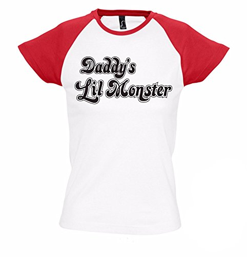 Daddy's Lil Monster Girlie Shirt | Suicide Squad | Harley Quinn | Joker | Held | Fun | Superheld | Frauen | Kostüm | Fun (L)