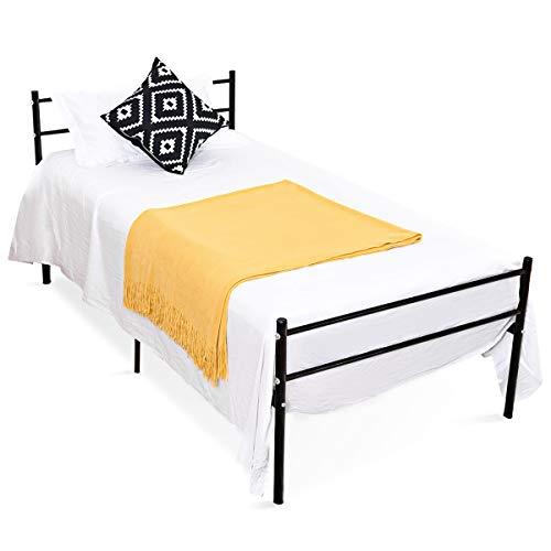 COSTWAY Metallbett, Einzelbett Metall, Tagesbett Jugendbett Kinderbett Gästebett Bettgestell Bettrahmen, Schwarz (Modell 1)