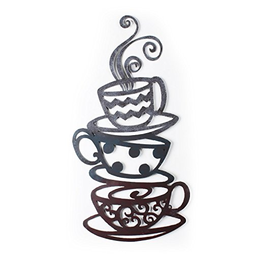 Adeco DN0008 Iron Wall Hanging Accents, Three Stacked Coffee Tea Cups Decor Widget, Multicolor