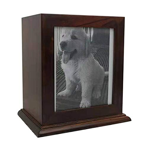 BRKURLEG Pet Wood Memorial Urn for Ashes,Photo Frame Keepsake Box for Cats Dogs,Funerary Caskets Supplies Burly Wood Cremation Urns with Acrylic Glass Photo Protector for Pet Lovers