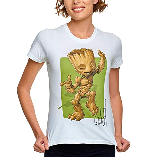 Guardians of the Galaxy Elbenwald Marvel T-Shirt I Feel Groot Dancing Baby Groot Frontprint für Damen weiß - M