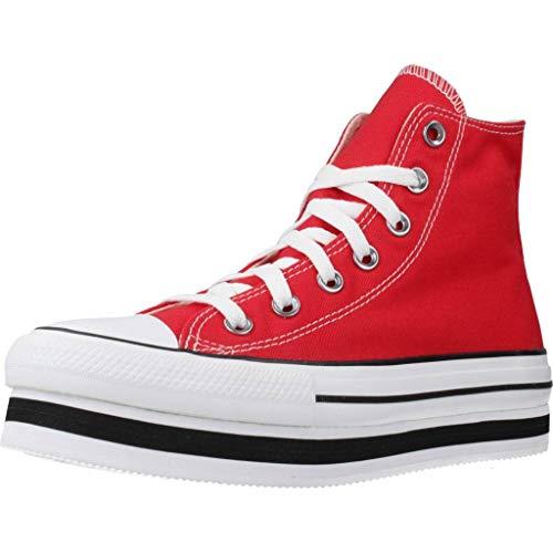 CONVERSE Chuck Taylor All Star Platform Layer Bottom Zapatos Deportivos para MUIER Rojo 567996C