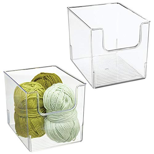 mDesign Plastic Open Front Craft, Sewing, Crochet Storage Container Bin - Compact Organizer and Holder for Thread, Beads, Ribbon, Glitter, Clay, Crayons, Markers, Glue - 2 Pack - Clear