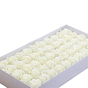 giveyoulucky 50Pcs 3-Layer Artificial Rose Flowers Foamflower Scented Flower DIY Wreath Wedding Home Party Decorations