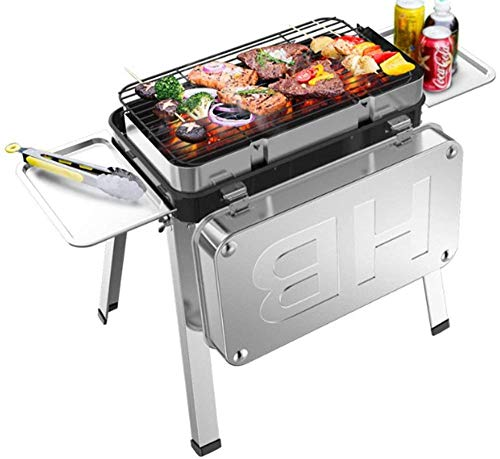 YAYY Barbecue Grill Draagbare Houtskool Barbecue Tafel Dikker Opvouwbare Grill BBQ Porselein Emaille Grill RVS Met cover Camping Outdoor Garden Family Barbecue Party Voor 3-6 Personen (Upgrade)