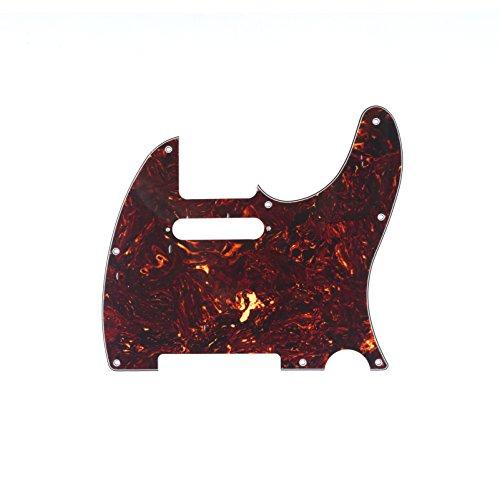 Musiclily Pickguard Tele Standard, Plaque de protection pour Fender (US/Mexique Made) Standard Telecaster Guitare électrique Style moderne, 4 plis Brun Tortoise