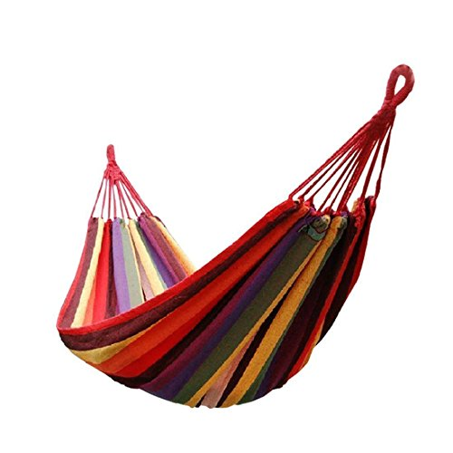 Signstek Portable 2 Person Outdoor Camping Garden Beach Travel Canvas Hammock (Red) …