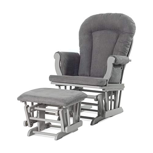 Forever Eclectic by Child Craft Cozy Glider Rocker and Ottoman, Cool Gray with Dark Gray Cushion