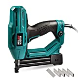 Electric Brad Nailer, NEU MASTER NTC0040 Electric Nail Gun/Staple Gun for Upholstery, Carpentry and Woodworking Projects, 1/4'' Narrow Crown Staples 400pcs and Nails 100pcs Included