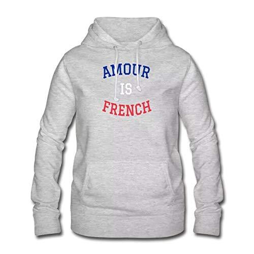 Amour is French Sweat Premium Unisexe Capuche Gris M Inscription Bleu Blanc Rouge.