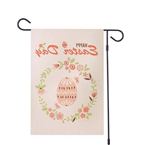 PRETYZOOM Sacwinzigen Glücklich Ostern Garten Flagge Hase Kaninchen Leinen Girlande Hühnereier Willkommen Garten Flagge Vintage Rustikalen Bauernhof Hof Outdoor-Dekor ohne Fahnenstange