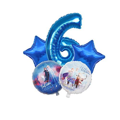 MUYANDZ Globo 5 unids Nieve Reina Elsa Globo Princesa lámina Globos Feliz cumpleaños Fiesta Decoraciones niños Regalos Juguetes Baby Shower (Color : 6)