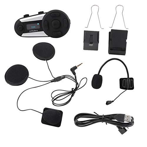 DAUERHAFT DSP Eliminación de Ruido del Viento Moto Auricular Moto Radio FM Auricular Bluetooth Botón Grande, con Pantalla OLED
