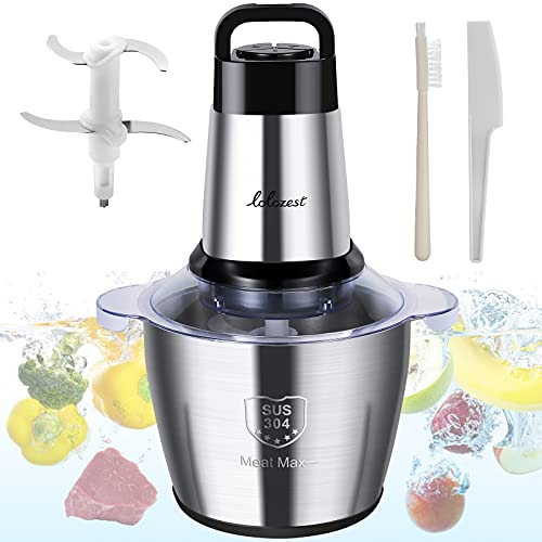 Meat Grinder Electric, lolozest 500W Food Chopper with 3.5L 14-Cup 304 Stainless Steel Bowl, Food Grinder for Meat Vegetables Fruits Nuts with 4 Sharp Blades & 3 Rotating Speeds