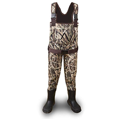 Neoprene Adjustable Children and Youth Waterproof Fishing and Hunting Chest Waders For Youth, Kids, Toddlers, and Children. Official Licensed Mossy Oak Shadow Grass Blades Camo
