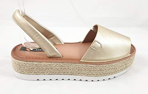 Timbos Zapatos - 122736 - Menorquina Plataforma Esparto, Verano para Mujer en Color Oro (Oro, Numeric_38)