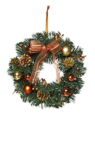 HEITMANN DECO Weihnachtskranz - Türkranz Wandkranz Weihnachten - dekorierter Kranz aus Tannenzweigen - Grün, Kupfer, Gold