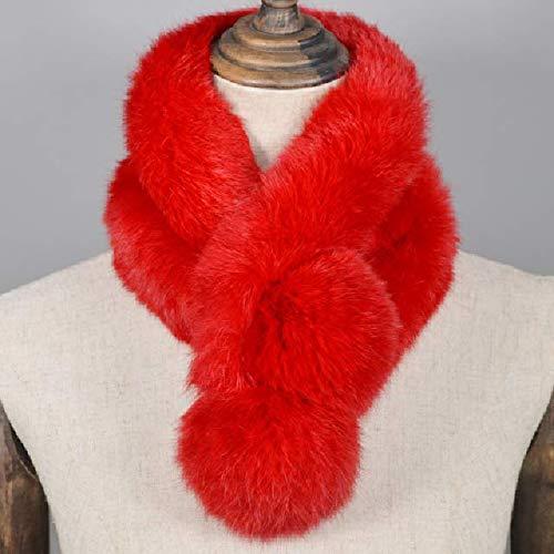 WEIYIM Kaninchenfell Schal Echtes Kaninchenfell Warme weiche Halstuch Lady Handmade Real Kaninchenfell Ring Schals